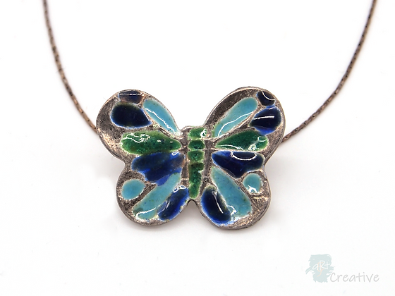 Necklace: Fine Silver Enamelled Butterfly - Toni Peers