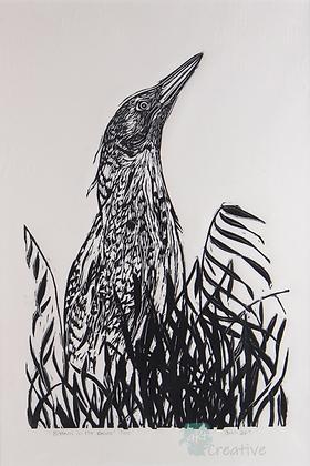 Bittern in the Reeds - Deborah Vass (mounted)