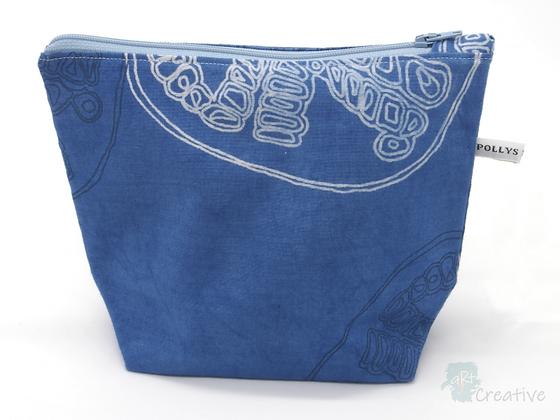 Small Washbag (Pomegranate - Blue) - Danielle Wade