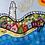 """Thumbnail: """"Beach Huts"""" Textile Piece- Tammi R  (framed)"""