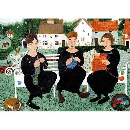 Rectangular Art Card:  Village Knitters by Dee Nickerson
