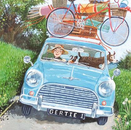 Square Art Card: Road Trip by Stephanie Lambourne