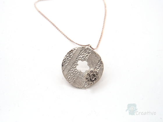 Necklace: Fine Silver 'Textured Disc with Flower'- Toni Peers