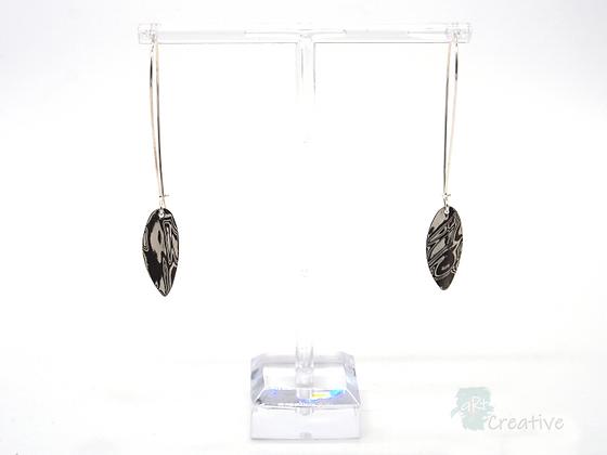 Silver Leaf Loop Drop Earrings - Helen Smith