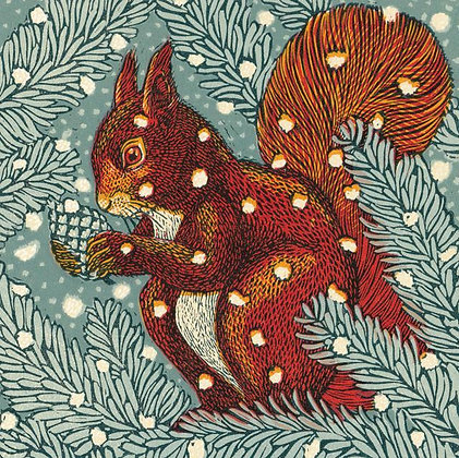Square Art Card: Red Squirrel  by Vanessa Lubach