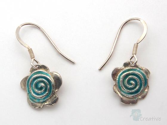 Earrings: Swirled Fine Flower Enamelled   - Toni Peers