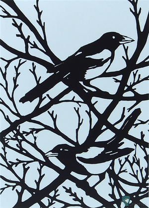 Rectangular Art Card: 'Two for Joy ' Linocut - by Helen Maxfield