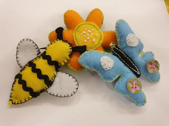 Hand Embroidery - Felt Butterflies & Bees - Takeaway Taster by TammiR