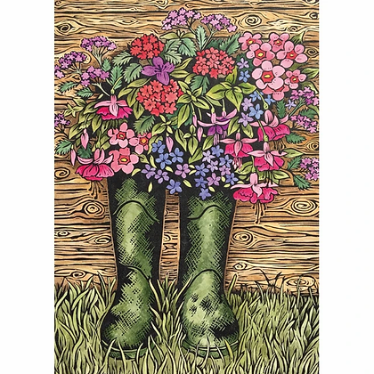 Rectangular Art Card: Dad's Old Wellington Boots by Katherine Green