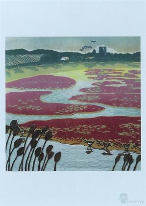 Rectangular Art Card: 'Havergate Island' Linocut - by Helen Maxfield
