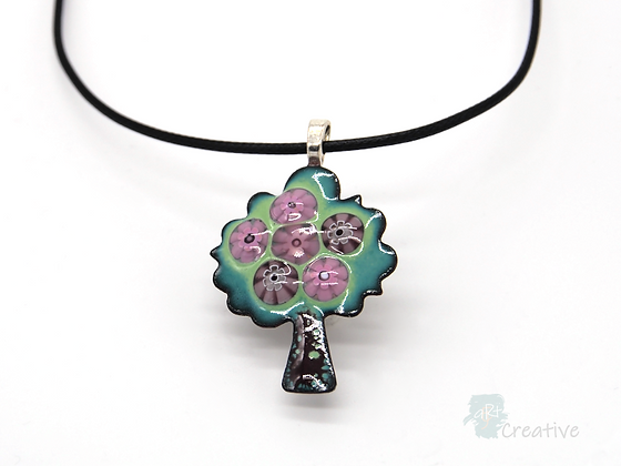 Necklace: Enamelled Tree with Mille Fiore Pendant - Toni Peers