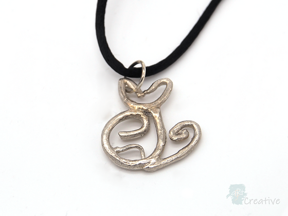 Necklace: Fine Silver 'Cat' - Toni Peers
