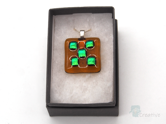 Dichroic Glass Pendant Amber & Turquoise - Louise Ferrier