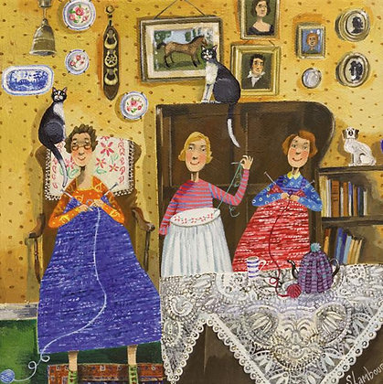 Square Art Card: The Crafty Ladies by Stephanie Lambourne