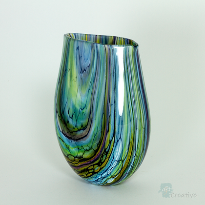Blown Glass: Large 'Stratum' Oval Vase - Timothy Harris
