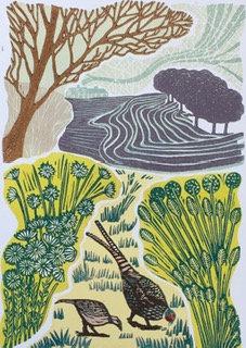 Pheasants Feasting - Helen Maxfield (Mounted)