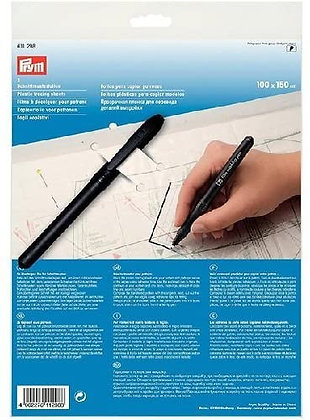 Dressmakers Pattern Plastic Tracing Sheets with Pen- Prym