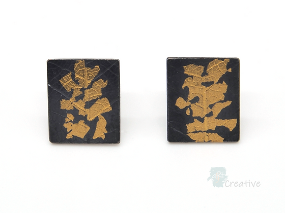 Oxidised Silver Earrings with Leaf Imprint & 23ct Gold Keum Boo Design.