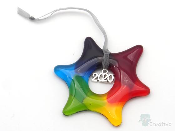 Fused Glass Rainbow Star Hanger (2020) - Louise Ferrier