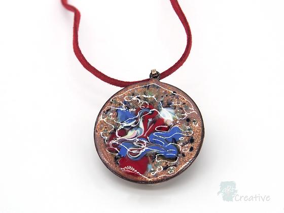 Necklace: Enamelled Swirled Circle - Toni Peers