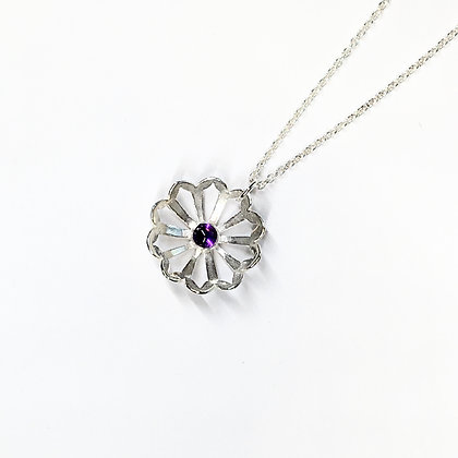 Round Domed Silver Pendant with Amethyst Gem - Lorraine Allan