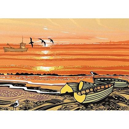 Rectangular Art Card: Beach Boats by Rob Barnes