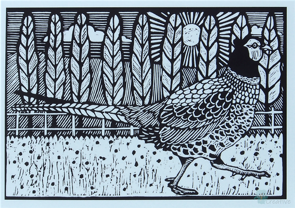 Rectangular Art Card: 'Pheasant on the Run ' Linocut - by Helen Maxfield