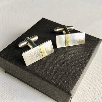 Rectangular Silver Cufflinks with 18ct Gold Band