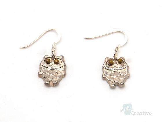 Earrings: Fine Silver 'Owls' - Toni Peers