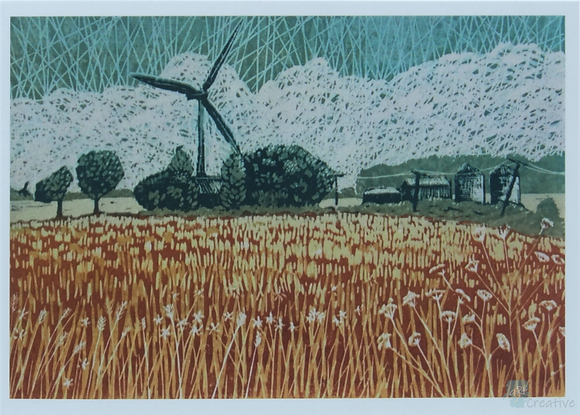 Rectangular Art Card: 'Farm by the Lake'  Linocut - by Helen Maxfield