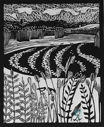 Snape Marshes towards Iken Church - Helen Maxfield (mounted)