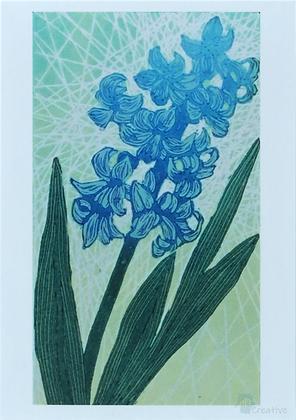 Art Card: 'Hyacinth'  Linocut - by Helen Maxfield
