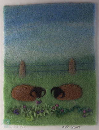 Shetland Sheep in Meadow - Annie Brown (mounted)