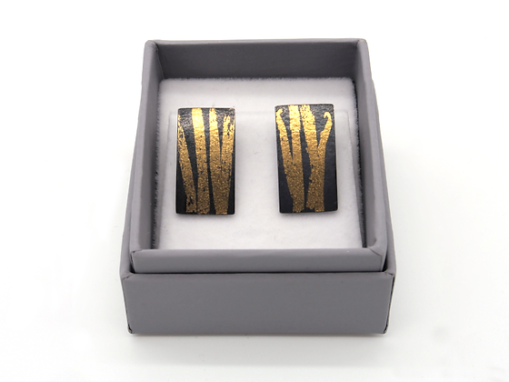 Oxidised Silver Earrings with 23ct Gold Keum Boo Reed Design.