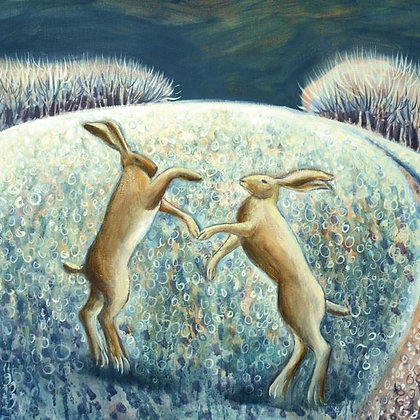 Square Art Card: Boxing Hares in the Snow by Hannah Giffard