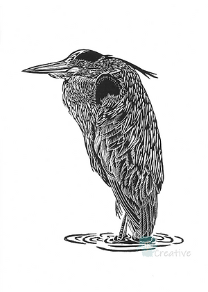 Rectangular Art Card: River Man - Heron by Deborah Vass