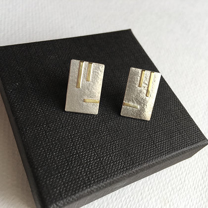 Rectangular Silver Earrings with 18ct Gold Lines