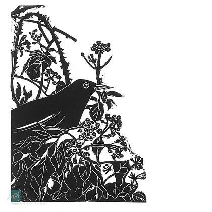 Rectangular Art Card: Blackbird in the Ivy by Deborah Vass
