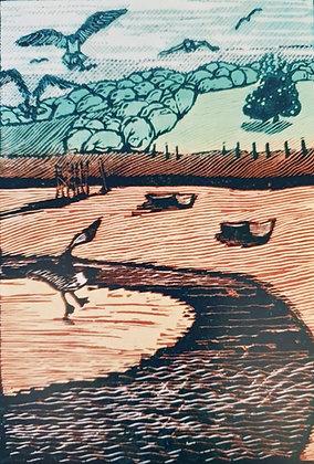 Art Card:' Martlesham Creek' Linocut - by Helen Maxfield