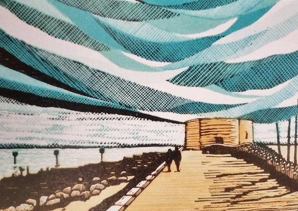 Art Card:' Aldeburgh Martello Tower' Linocut - by Helen Maxfield