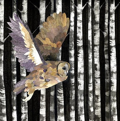 Square Art Card: Owl  by Kerry Buck