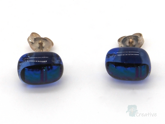 Dichroic Glass Stud Earrings Dark Blue - Louise Ferrier
