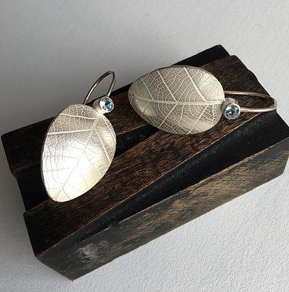 Silver Earrings with Leaf Design & Aquamarine Gems