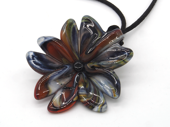 Necklace: Glass Flower Pendant Orange 'Stratum' - Timothy Harris