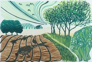 Pheasants in the Furrows - Helen Maxfield (Mounted)