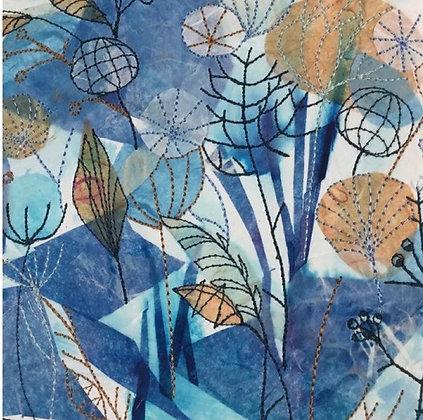 Blue Seedheads - Dot Ronaldson  (Framed)