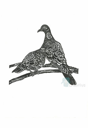 Square Art Card: Two Turtle Doves by Deborah Vass