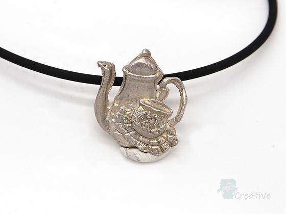 Necklace: Fine Silver 'Teapot' - Toni Peers