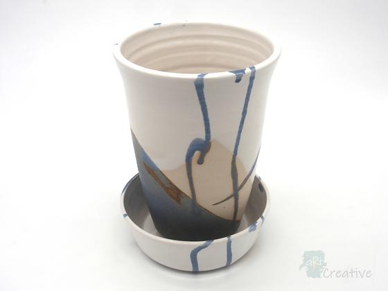 Plant Pot with Dish 'Sea Beach ' - Sue Bowerman