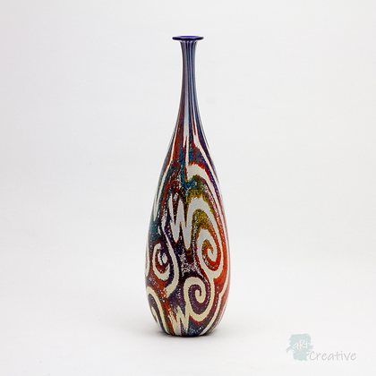 Blown Glass: Large Skittle 'Jazz Nuvo' Vase - Timothy Harris